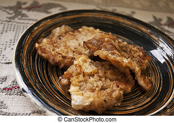 Fried meat on a plate