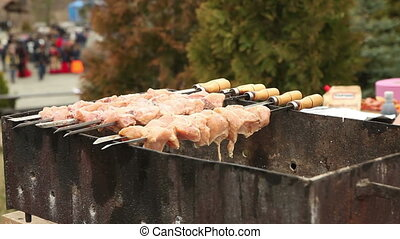 Fried meat on a skewer. Russian holiday Maslenitsa