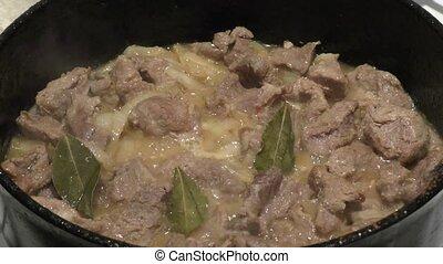 Fried meat pork