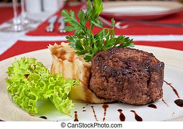 Fried meat steak