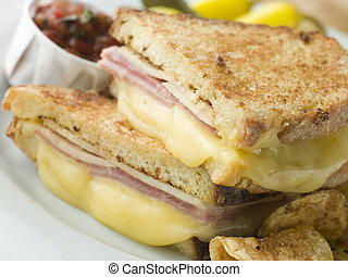 Fried Monte Cristo Sandwich with Salsa and Chips
