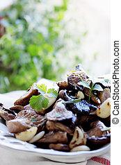 Fried mushrooms with coriander