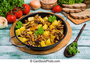 Fried mushrooms with potatoes