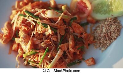 Fried noodle Thai style with chicken,