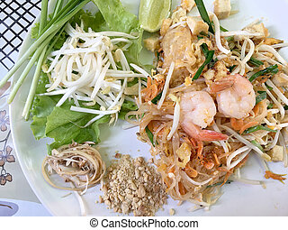 Fried noodle Thai style with prawns, Stir fry noodles with...
