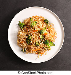 fried noodles with vegetable and soy sauce