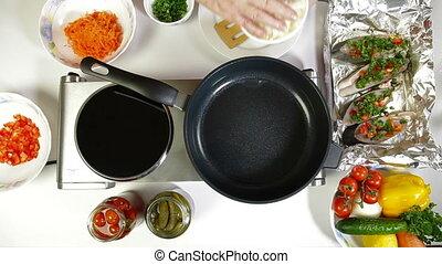 Fried Onion in Frying Pan