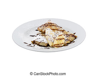 Fried pancakes with banana