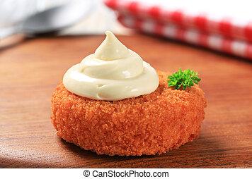 Fried patty and mayonnaise - Fried patty with mayonnaise