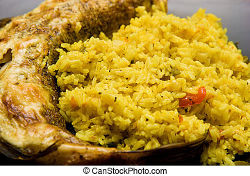 fried pike with rice