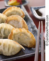 Fried Pork and Shrimp Dumplings with Soy Sauce