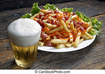 Fried potato with beer