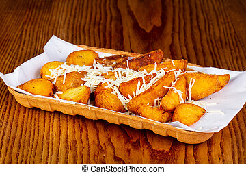 Fried potato with cheese