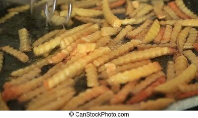 Fried potatoes in frypan