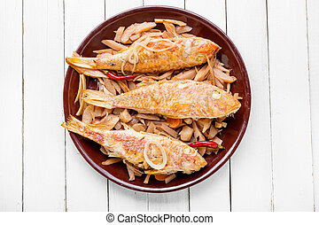 Fried red mullet fish