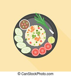 Fried rice in thai style, Thai cuisine, flat design vector