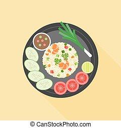 Fried rice in thai style, Thai cuisine, flat design vector