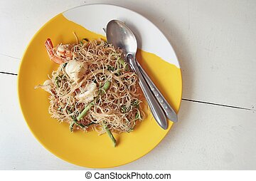 fried rice noodles with seafood.