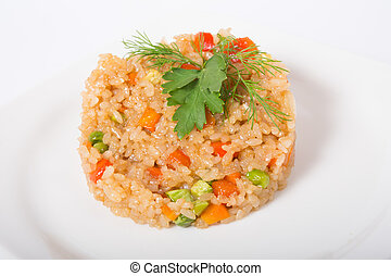 Fried rice on a white plate