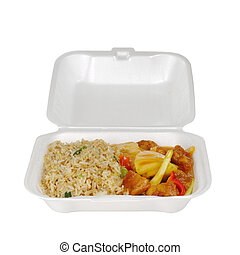 Chinese take-away food in styrofoam box: Fried rice sweet and sour with pineapple and chicken (Isolated on White)