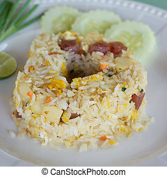 Fried rice with Chinese sausage - Fried rice with Chinese...