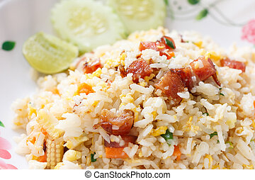 Fried Rice with Chinese Sausage and vegetables