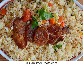 fried rice with Chinese sausage on dish