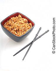 Fried rice with chopsticks