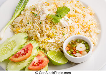 Fried rice with Crab isolated on white background