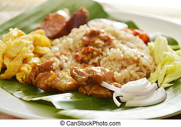 fried rice with mixed shrimp paste on dish
