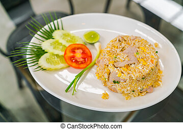 Fried Rice with Vegetables .