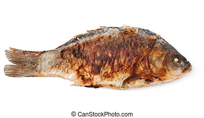Fried river fish carp isolated on white background, top view.