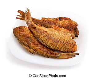 Fried river fish with the cutting back. Isolated on white background.