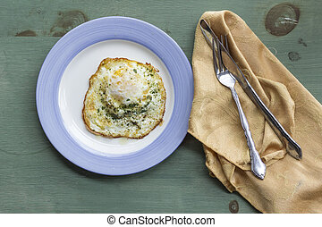 Fried Runny Egg Over Easy - Fried runny egg over easy with ...