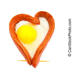 Fried sausage in the form of heart on a white background