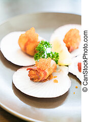 Fried Scallops with bacon - soft focus
