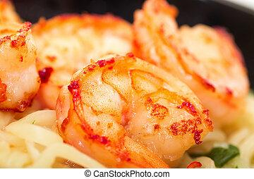 Fried shrimp and noodle soup bowl