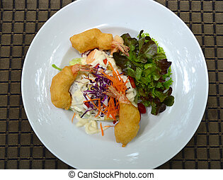 Fried shrimp salad cream with mix vegetable