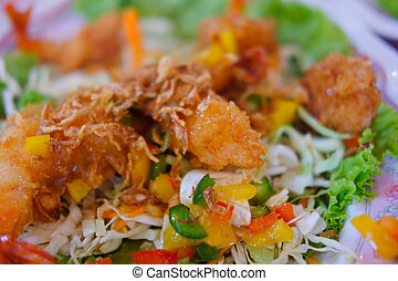 Fried shrimp salad with mix vegetable i