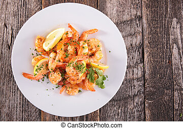 fried shrimp with herbs