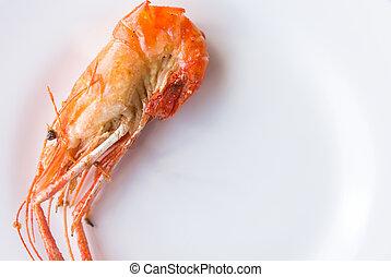 Fried shrimp with salt on dish