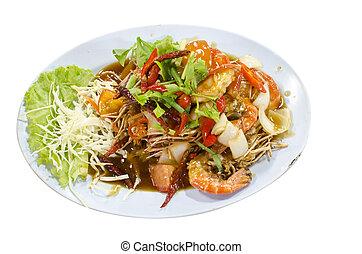 Fried shrimp with tamarind source.