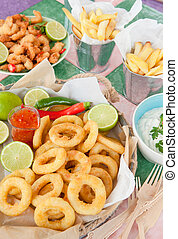 Fried shrimps and French fries