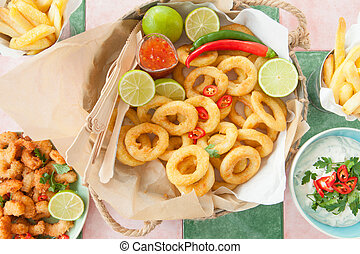 Fried shrimps and squid rings