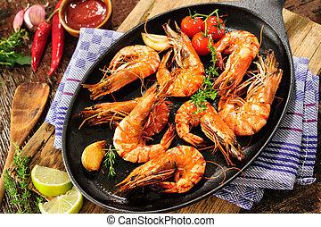 Fried shrimps - Fried king prawns on iron pan