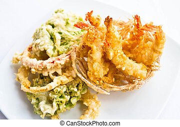 Fried Shrimps on white plate