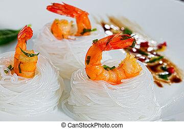 fried shrimps Salad rice Noodle Nest, close-up
