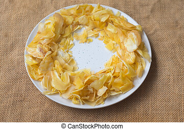 Fried sliced jackfruit in white dish