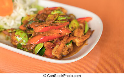 Fried spices shrimp with Parkia