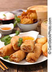 fried spring roll and asian food